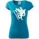 Taekwondo, Tricou de Dama Turcoaz cu Imprimeu Alb